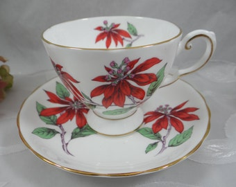 "Vintage English Bone China Tuscan ""Poinsettia"" Teacup and Saucer - So Bright and Colorful"