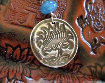 Lotus Pendant - Bronze Medallion with Sky Blue Angelite, Handmade Artisan Jewelry, Yoga, Meditation, hiddenfirepottery
