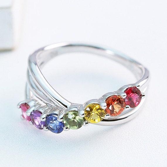 lgbt pride engagement ring wedding band 14k white gold unisex