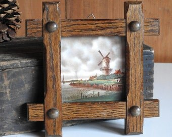Dutch Windmill Tile ~ Vintage Wood Framed Art Wall Hanging Netherlands Holland Souvineer Plaque / Rustic Country Farmhouse Cottage Decor