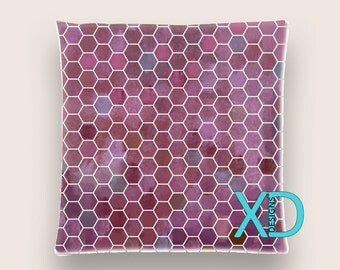 Honeycomb Pillow, Purple Pillow Cover, Geometric Pillow Case, Artistic Design, Abstract Design, Home Decor, Decorative Pillow Case, Sham