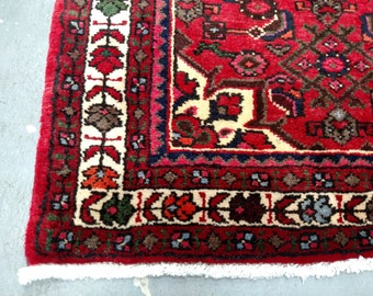 1980s Hand-Knotted Hamadan Persian Rug Runner (3333)