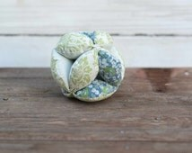 Amish Fabric Puzzle Ball Blue Green Floral Baby Child Pet Toy