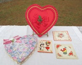 Valentine Lot 2 1990's Heart Candy Boxes and 3 Halmark Hall Brothers Cards 1940