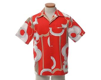Vintage 70s MCM Mod Hawaiian Shirt 1970s Sears Hawaii Space Age Atomic Print Hawaii Disco Luau Mens Tiki Party Aloha Shirt / M