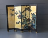 Beautiful Four Panel Double Sided Asian Screen - Solid Carved Wood and Gold Lacquer