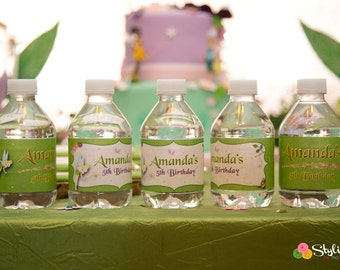 Tinkerbell Inspired Water Bottle Labels