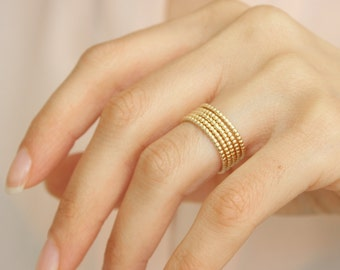 Dotted Gold Ring - Ultra thin dotted ring, Gold stacking ring