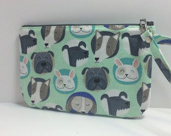 Square Pouch /Wristlet - Dogs face