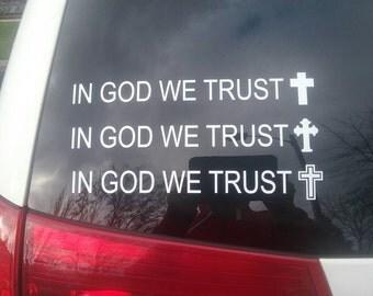 250 - 1000 In God We Trust Window Decals Decal Christian Fundraising fund raising Raiser Sticker Youth Group Car Glass Catholic Cross Fish
