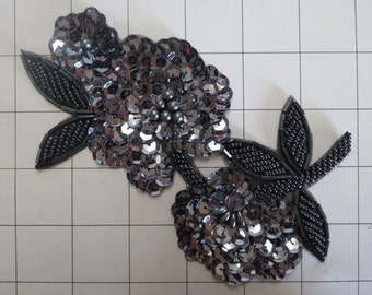 Gunmetal Sequins and Beaded Flower Applique (B-32)