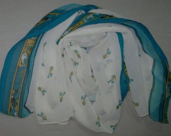 Long Scarf Indian Sari Scarf Cream with Turquoise Border LSF0