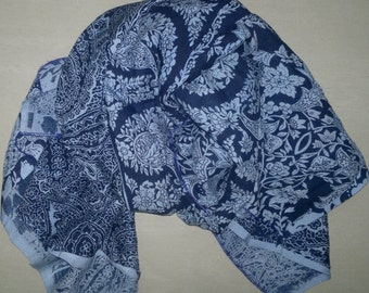Square Scarf Rayon Scarf Indian Scarf Blue Scarf Paisley Scarf