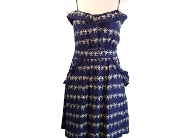 Pinup Rockabilly Navy White Dot Bow Ruffle Flounce Sundress S/M