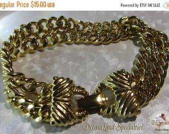 Sizzlin Summer Sale Goldette Two Strand Chain Bracelet Vintage Jewelry 7 1/2