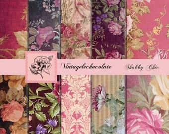 Digital Paper, Floral Digital Scrapbook Paper, Digital Pink Shabby Floral Paper, Digital Floral Printable Paper. No p.55 VB