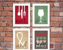 ON SALE Modern Kitchen Art Prints - Eat Drink & Be Merry Set of (4) 4 x 6, 5 x 7 OR 8 x 10 // Maroon, Red, Kiwi, Tan, Gray // Kitchen Art -