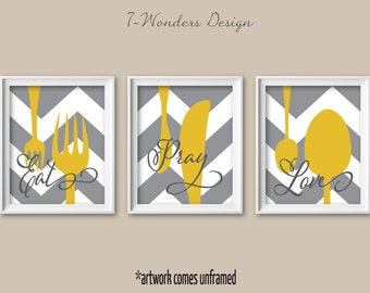 Kitchen Wall Art Print Set - Eat Pray Love -  Mustard, Grey, White // Modern Kitchen Decor // Set of (3) Many Sizes // Unframed