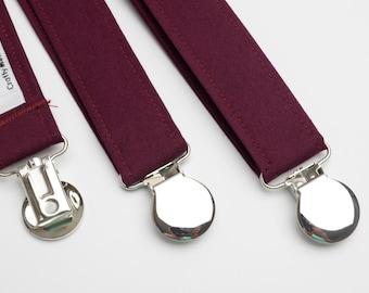 Suspenders - Burgundy Adjustable Suspenders