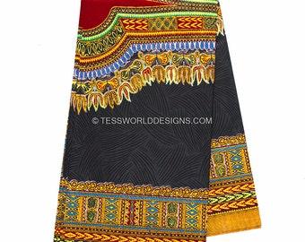 Quality Black Dashiki Fabric/ Dashiki Print/African Fabric/African skirt/ Supplies/African supply store/ Sold per 2 yards/Large design DS41B