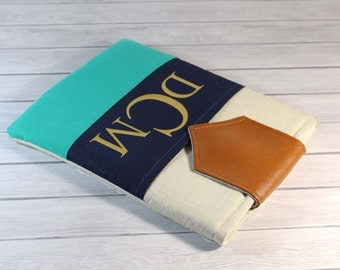 Monogrammed Ipad Pro 10.5 Case Ipad  Pro 9.7 Cover foam Padded Personalized 12.9 inch iPad Pro Case- Color Block with Pocket