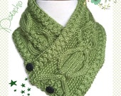 Pistachio Womens Neckwarmer Cable Twist Handknit Caron Simply Soft