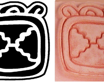 Mayan Codex Stamp #6 Design Tool for PMC Clay - Ceramic Clay - Polymer Clay - Textile Stamp - Scrap Booking Design Stamp - Mayan Glyph Codex