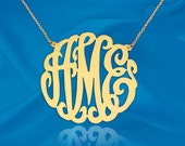Initial Necklace -1 3/4 inch Monogram Necklace - 925 Sterling Silver 24k Gold Plated - Made in USA