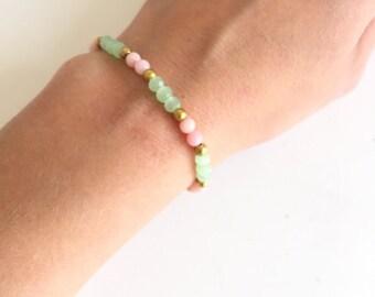 Pastel beaded bracelet - Candy bracelet - Color pop - Mint Gold Pink - Girly Bracelet - Dainty jewelry - Friendship bracelet - Gift under 20