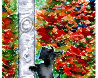 Scottie Dog Art Print 'Autumn Squirrel Watch' #130 Scottish Terrier