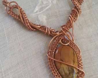 Hand woven copper wrapped Picture Jasper necklace