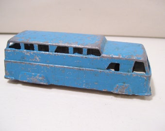 Vintage Midgetoy Bus Line, Die-cast Metal Bus, Blue, USA