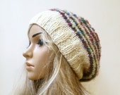Women Merino Hand Knitted Hat, Slouchy Merino Wool Mohair Striped Knitted Hat, Cream Slouchy Hat, Clickclackknits
