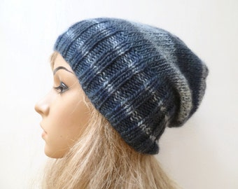 Sale! Wool Slouchy Beanie Hat - Hand Knit Hat - Women Knit Hat - Blue Slouch Beanie - Blue 100% Wool Eco Friendly Beanie - ClickClackKnits
