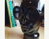 LOVE U SALE Deadstock Large Black Jackie O Style Sun Glasses