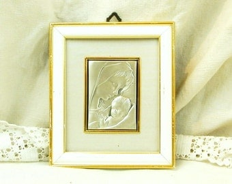 Vintage French Repoussé on Sterling Silver Sheet of Virgin Mary and Child / Religious / Religion/ Catholic / Christian / Our Lady / Madonna