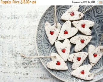 CHRISMAS IN JULY 23-25.7 Rustic red heart ornaments cottage chic white wedding favours bridal shower birthday party favours baby shower boho