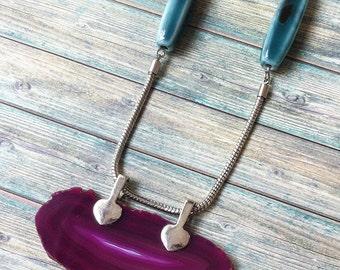 Boho necklace Agate slice - boho chic -  crystal necklace - ceramic -locket -long necklace -rose & turquoise -gemstone jewelry -gift for her