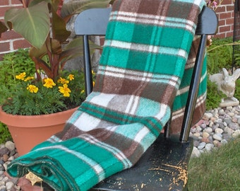 HORNER WOOLEN COMPANY Wool Plaid Blanket. Beautiful color blends of Green, Blue, Brown off White