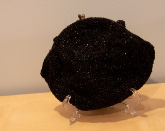 Vintage Beaded Clutch/Purse- Black Seed Beads