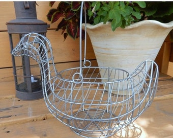 ON SALE Farmhouse Decor Wire Duck Basket