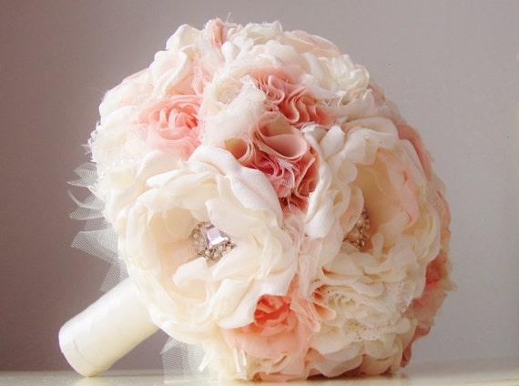 Bridal Bouquet Materials : Fabric wedding bouquet brooch vintage bridal