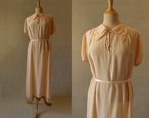 Peach Silk Dress, Nightgown - 1930s