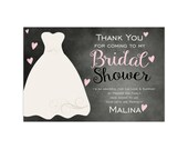 Bridal Shower Thank You Card - Pink Chalkboard Invitation, Wedding Gown Bridal Shower Personalized Party Thank You - Digital Printable File