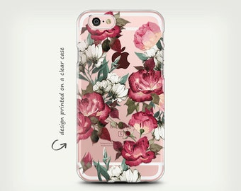 Clear Rubber iPhone 6 Case , Clear Case , iPhone 7 Case , iPhone 6 Plus Case , Rubber Case , Floral , Galaxy S7 Case , Galaxy S8 Case