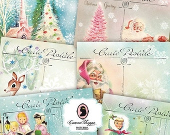75% OFF SALE Digital Collage Sheet HAPPY Christmas Digital Collage Christmas Postcards Set of 8 Digital Postcards Instant Download