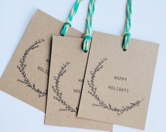 Happy Holidays Kraft Wreath Gift Tags (Set of 12)