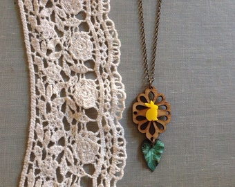 Yellow and teal wooden and oxidized bunny leaf necklace