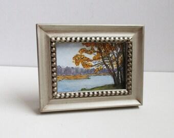 Delaware River #1 (Tow Path) Framed Miniature Original ACEO Lumberville PA Painting Art Gouache Watercolor Pen Ink Kathleen Daughan Artist