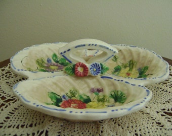 Vintage Sectional Candy or Nut Flower Dish